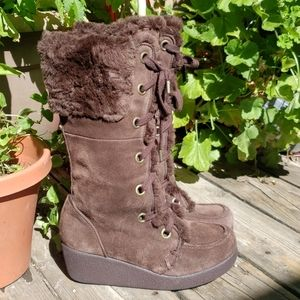 Report Emory brown suede leather zip up fur boots